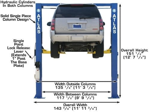 Automotive Lifts Dimensions : Atlas oh commercial grade two post lift