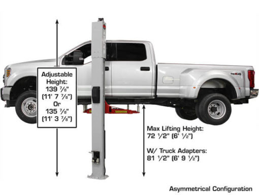 adjustable height 2 post lift