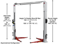 Atlas Platinum PVL10 ALI Cert, 10,000 lb Adjustable 2 Post Overhead Car Lift