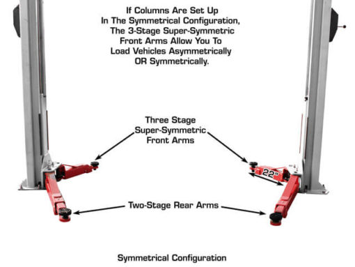 super symmetric arms for 2 post lift