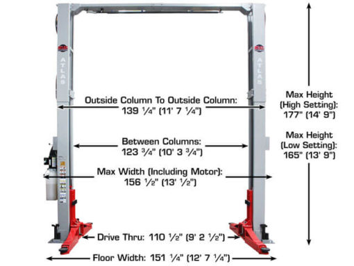 12000 lb atlas platinum 2 column lift