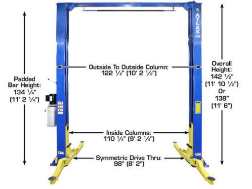 2 post lift dimensions
